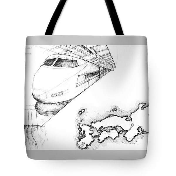 5.1.japan-map-of-country-with-bullet-train Tote Bag
