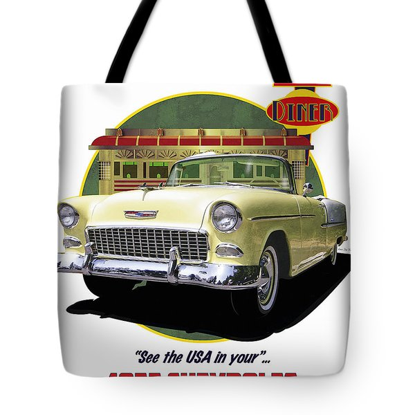 Tote Bag featuring the drawing 55 Chevy by Kenneth De Tore