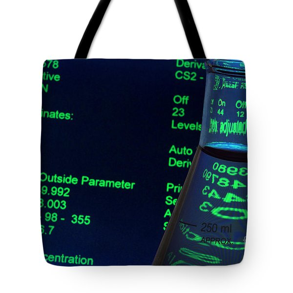 Tote Bag featuring the photograph Laboratory Experiment In Science Research Lab by Olivier Le Queinec