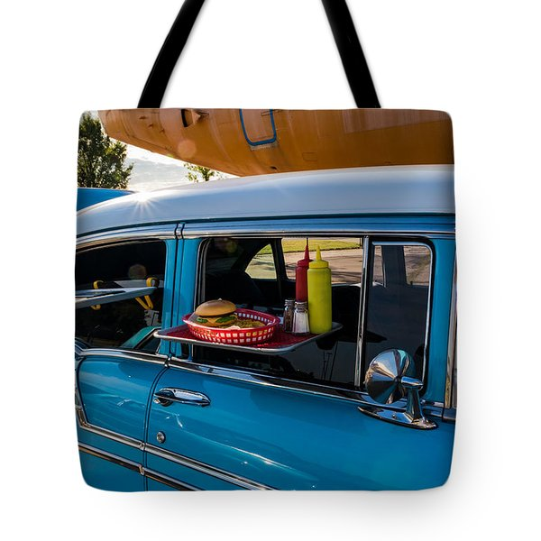 Tote Bag featuring the photograph 56 Chevy by Jay Stockhaus