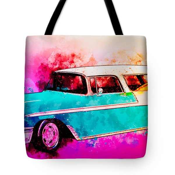 56 Chevy Nomad By The Sea In The Morning With Vivachas Tote Bag