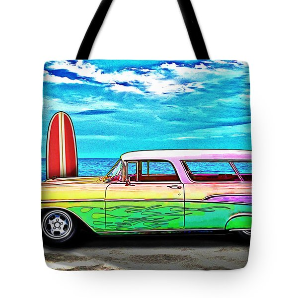 57 Chevy Nomad Wagon Best Part Of Waking Up Tote Bag