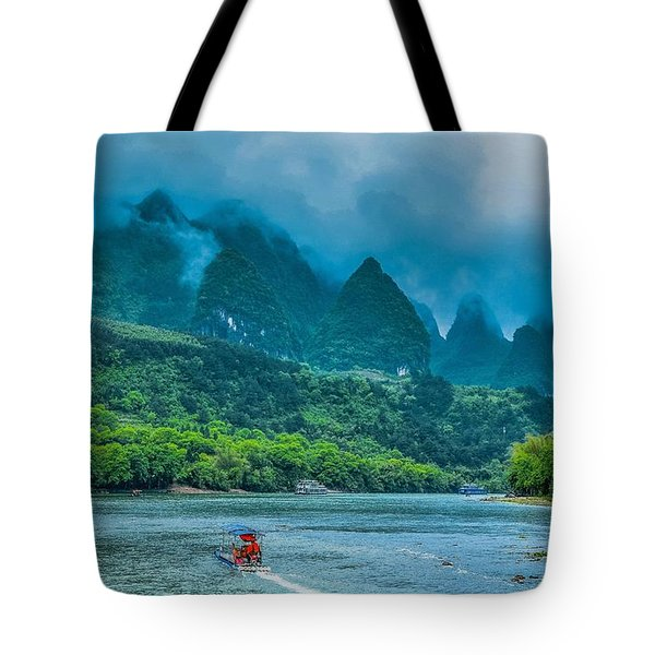 Karst Mountains And Lijiang River Scenery Tote Bag