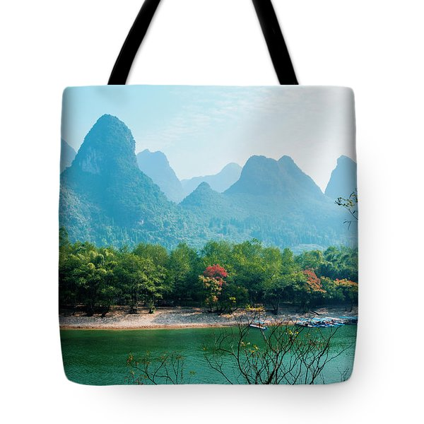 Tote Bag featuring the photograph Lijiang River And Karst Mountains Scenery by Carl Ning