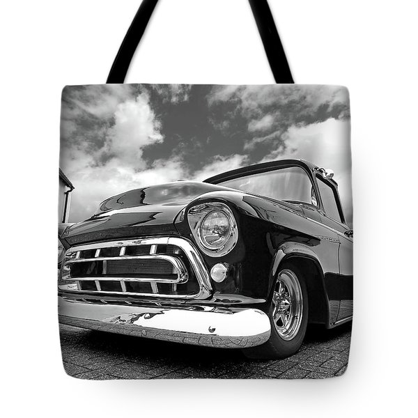 57 Stepside Chevy In Black And White Tote Bag