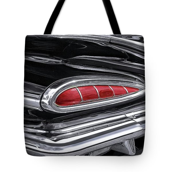 59 Chevy Tail Light Detail Tote Bag by Gary Warnimont