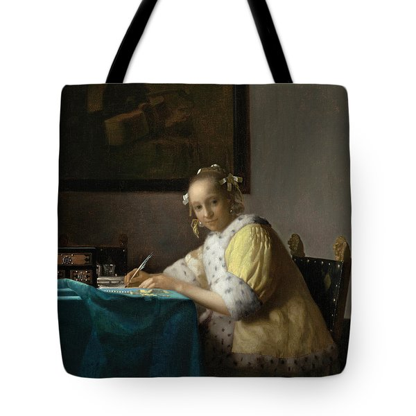 A Lady Writing Tote Bag