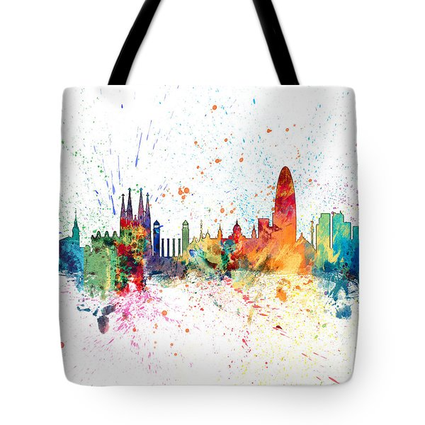 Barcelona Spain Skyline Tote Bag