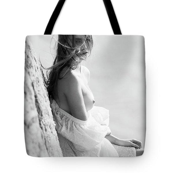 Girl In White Dress Tote Bag