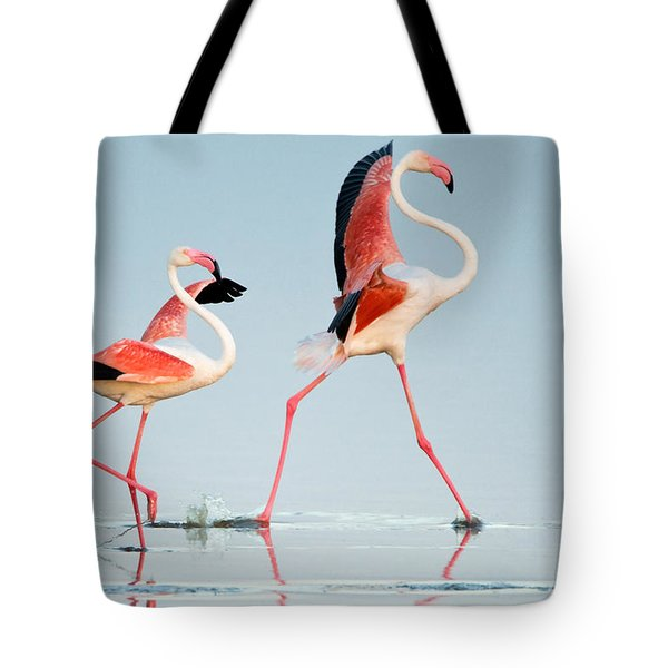 Greater Flamingos Phoenicopterus Roseus Tote Bag