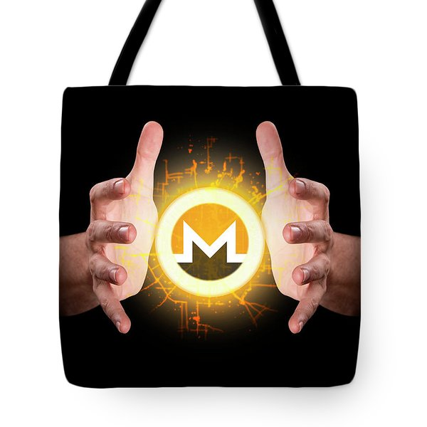Hands Grasping Cryptocurrency Tote Bag