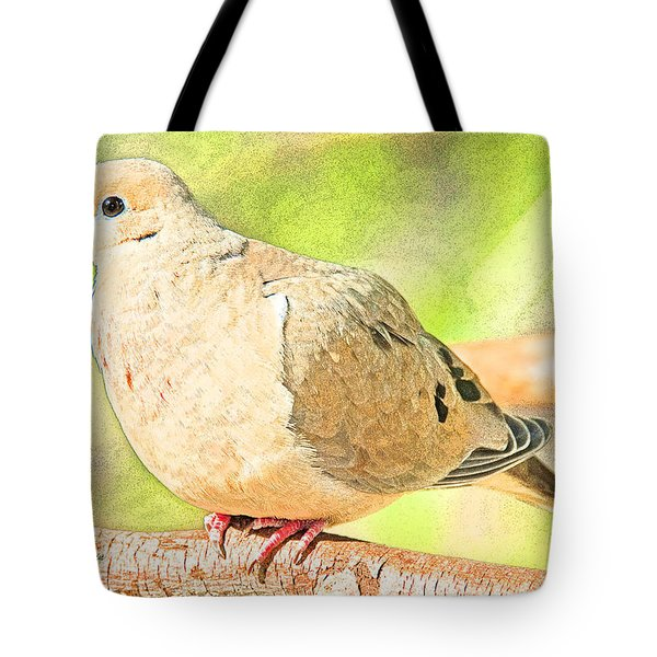 Tote Bag featuring the digital art Mourning Dove Animal Portrait by A Gurmankin