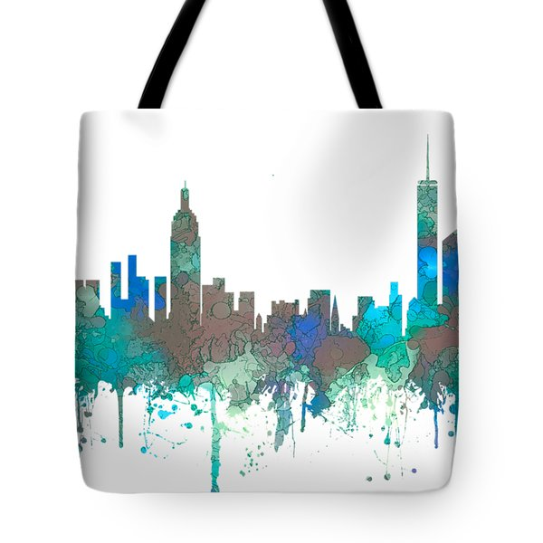 Tote Bag featuring the digital art New York Ny Skyline by Marlene Watson