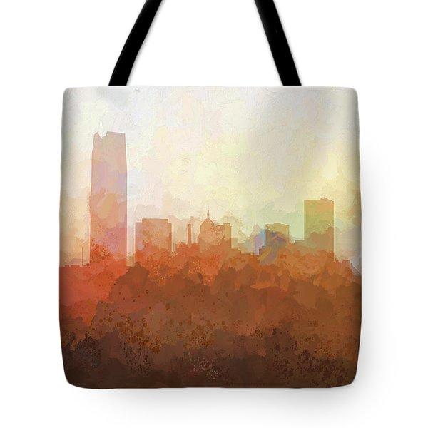 Tote Bag featuring the digital art Oklahoma City Oklahoma Skyline by Marlene Watson
