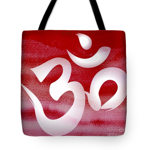 Om Symbol. Red And White Tote Bag