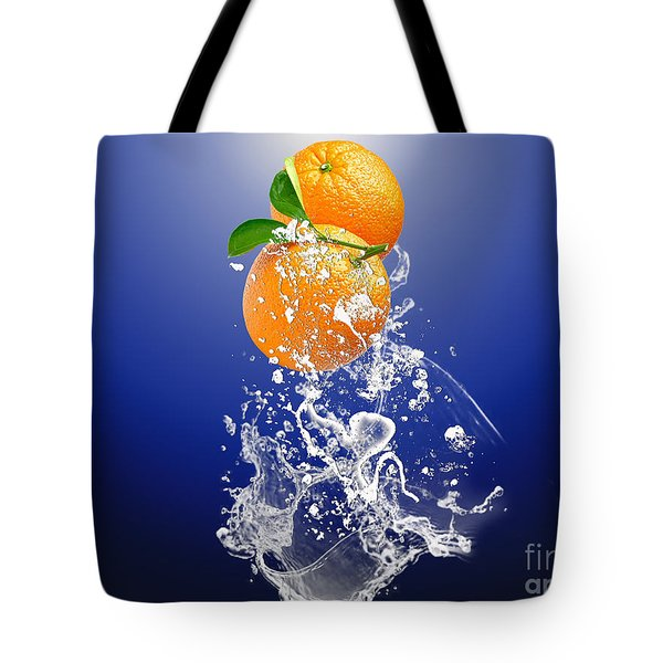 Tote Bag featuring the mixed media Orange Splash by Marvin Blaine