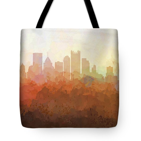 Tote Bag featuring the digital art Pittsburgh Pennsylvania Skyline by Marlene Watson