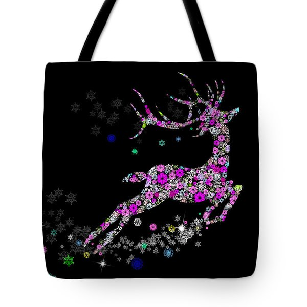 Reindeer Design By Snowflakes Tote Bag