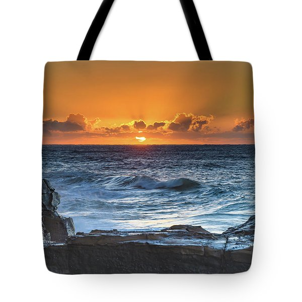 Sunrise Seascape With Sun Tote Bag