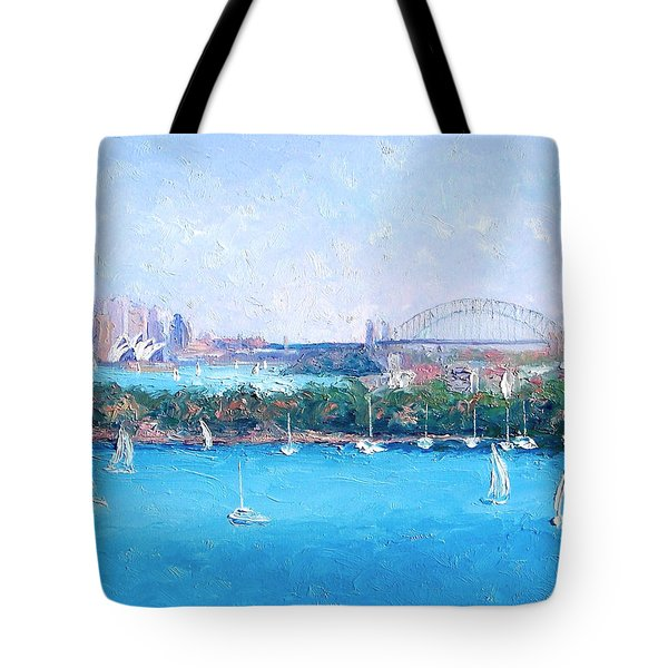 Sydney Harbour And The Opera House By Jan Matson Tote Bag