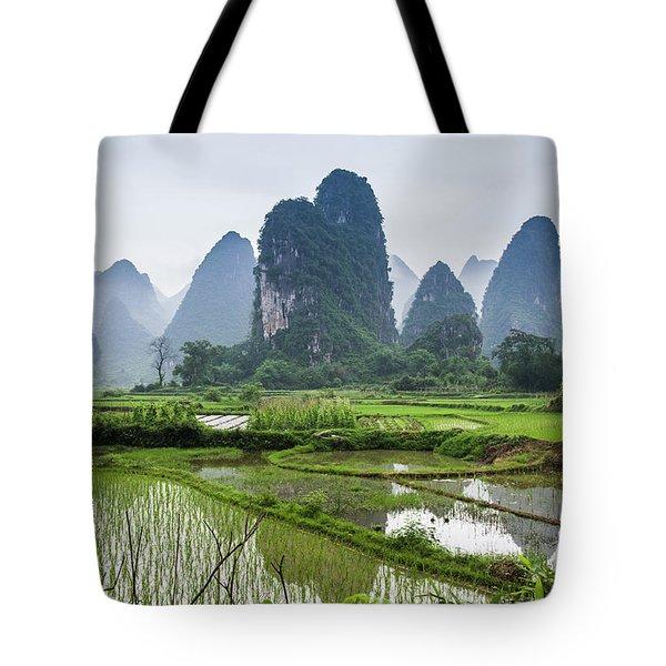 The Beautiful Karst Rural Scenery In Spring Tote Bag