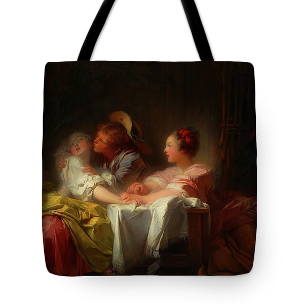 Tote Bag featuring the painting The Stolen Kiss by Jean-Honore Fragonard