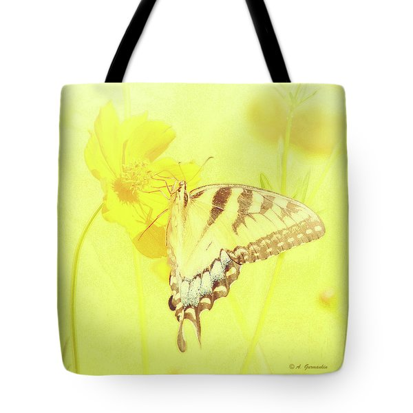 Tiger Swallowtail Butterfly On Cosmos Flower Tote Bag