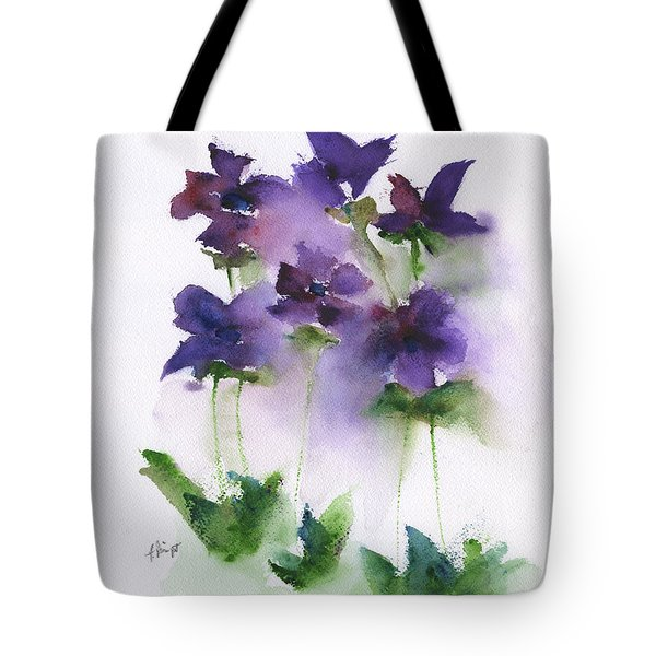 6 Violets Abstract Tote Bag by Frank Bright