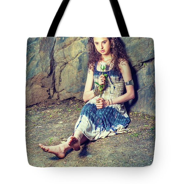 Young American Woman Missing You With White Rose In New York Tote Bag