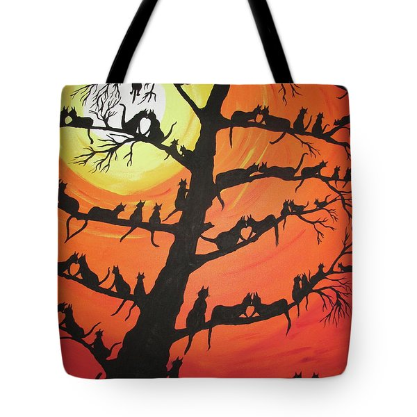 60 Cats In The Love Tree Tote Bag