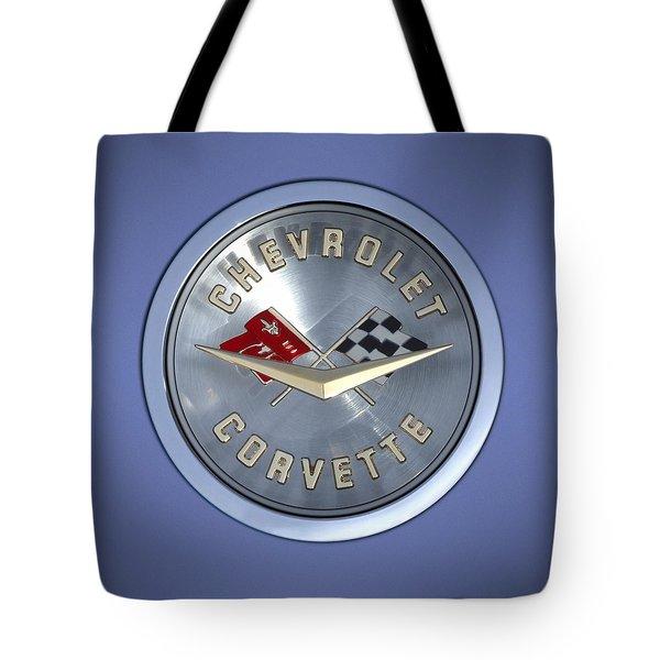 60 Chevy Corvette Emblem  Tote Bag by Mike McGlothlen