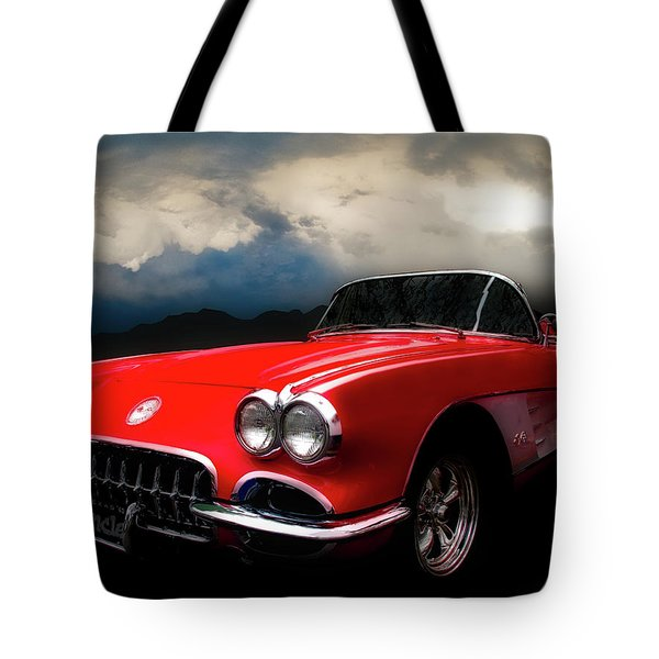 60 Corvette Roadster In Red Tote Bag
