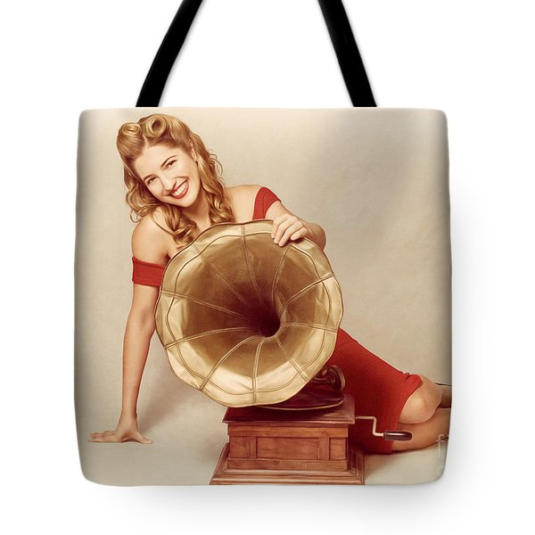 60s Pin Up Girl With Vintage Record Phonograph Tote Bag by Jorgo Photography - Wall Art Gallery