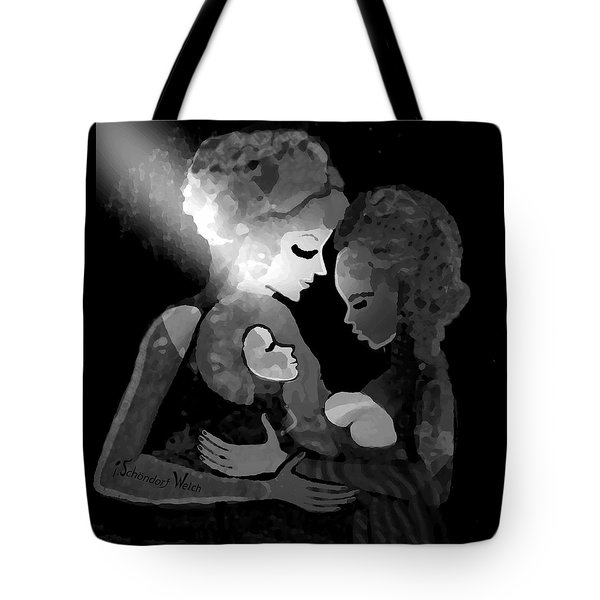 Tote Bag featuring the digital art 826 - The Child by Irmgard Schoendorf Welch