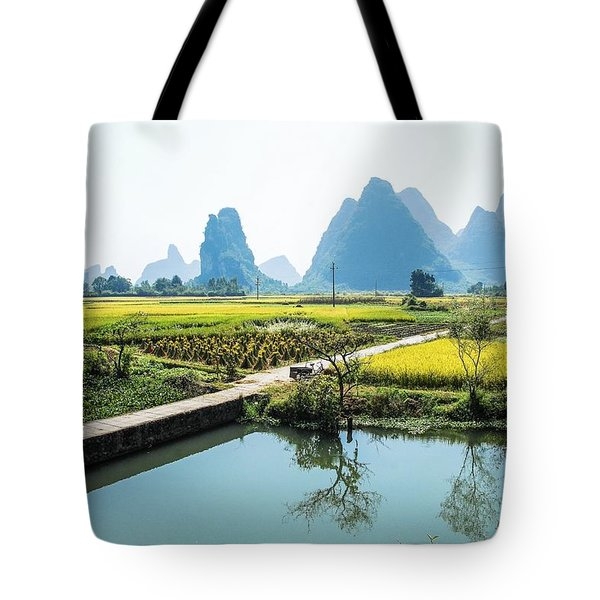 Rice Fields Scenery In Autumn Tote Bag