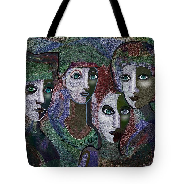 Tote Bag featuring the digital art 649 - Gauntly Ladies by Irmgard Schoendorf Welch