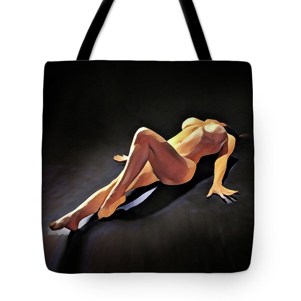 6550s-amg Watercolor Nude Woman Leg Up  Tote Bag