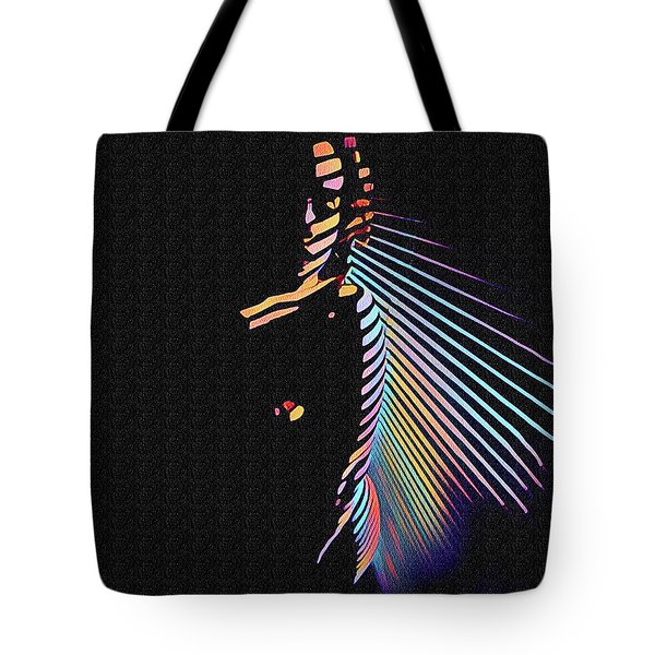 6580s-nlj Woman In Shadows By Window Zebra Striped Rendered In Composition Style Tote Bag
