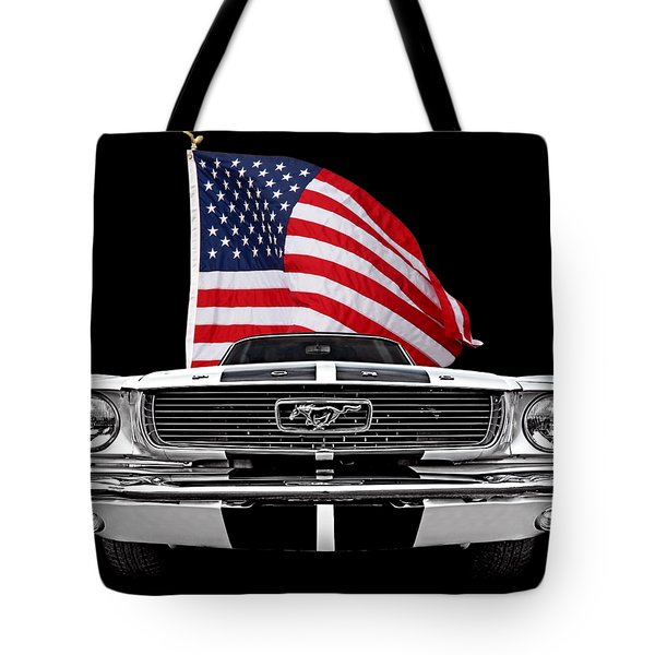 66 Mustang With U.s. Flag On Black Tote Bag