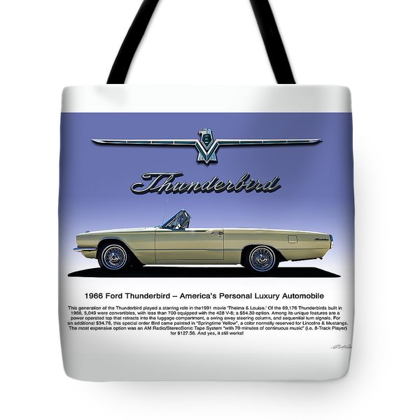 Tote Bag featuring the digital art 66 T-bird Display Piece by Douglas Pittman