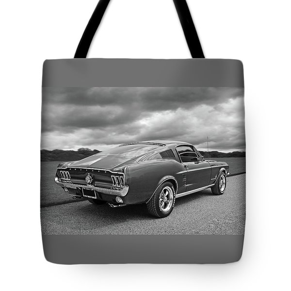 67 Fastback Mustang In Black And White Tote Bag