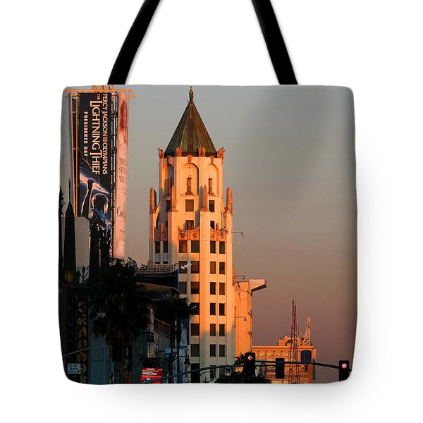 6777 Hollywood Blvd High-rise Building Tote Bag by Wernher Krutein
