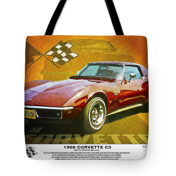 Tote Bag featuring the photograph 68 Corvette by Kenneth De Tore