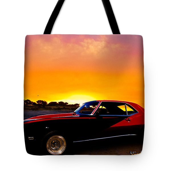 69 Camaro Up At Rocky Ridge For Sunset Tote Bag