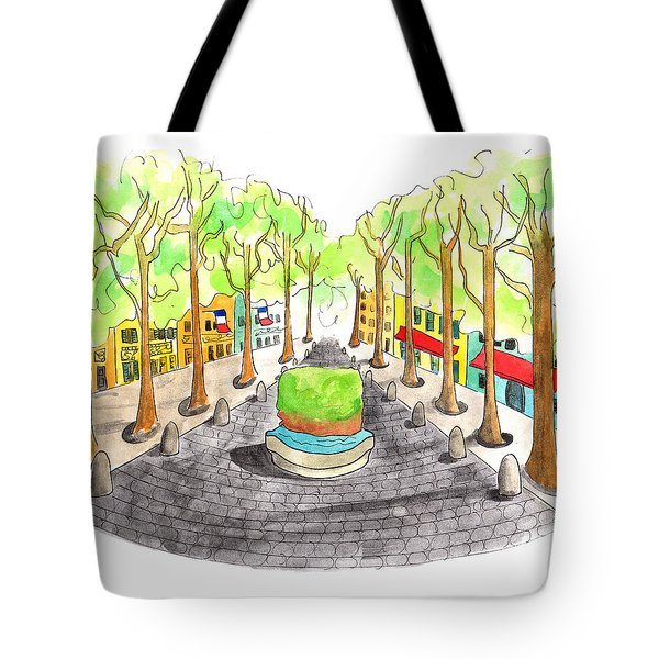 Cours Mirabeau With Trees And Fountain  Tote Bag
