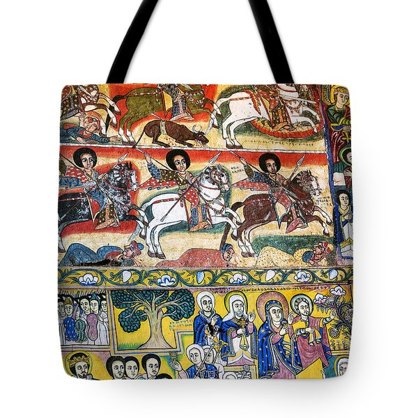 Ancient Orthodox Church Interior Painted Walls In Gondar Ethiopi Tote Bag