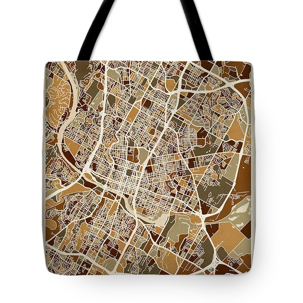 Austin Texas City Map Tote Bag