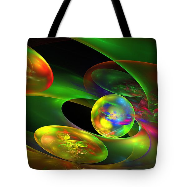 Computer Generated Planet Sphere Abstract Fractal Flame Modern Art Tote Bag by Keith Webber Jr