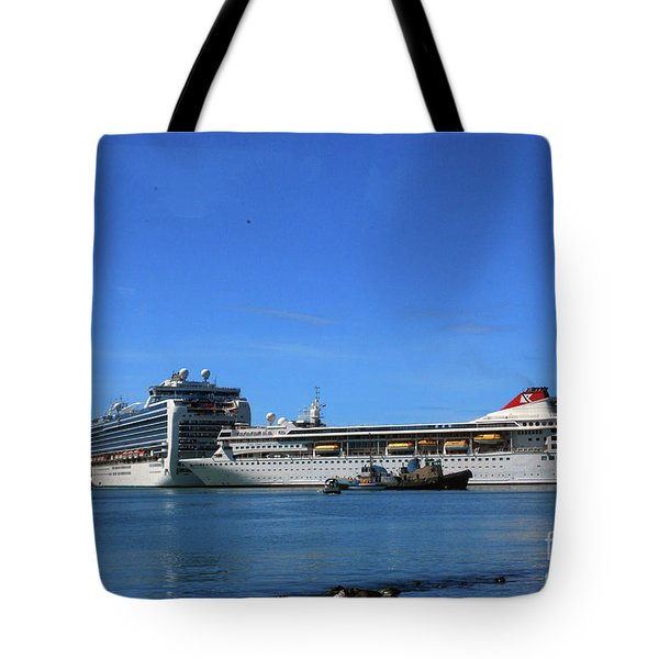 Tote Bag featuring the photograph Cruise Ship In Port by Gary Wonning