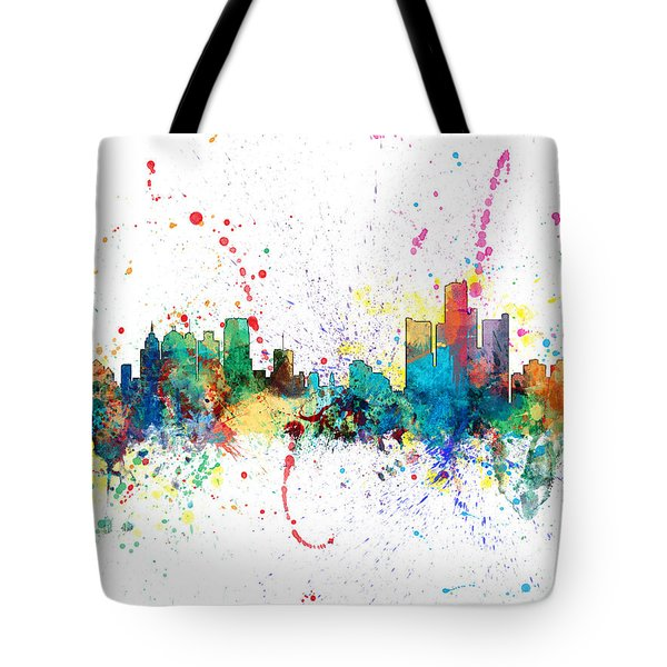 Detroit Michigan Skyline Tote Bag